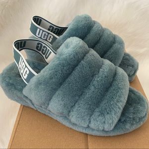 New UGG Fluff Yeah Sandals Atlantic Blue 7